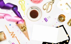 Картинка ленты, праздник, кофе, конверт, декор, день рождение