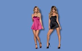 Картинка sexy, lingerie, women, blonde, heels, satin