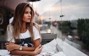 Картинка взгляд, девушка, поза, волосы, часы, красивая, Victor Sidorenko, Alexandra Dyagileva