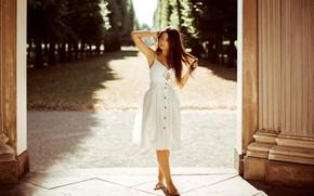 Картинка лето, девушка, поза, аллея, сарафан, Andreas-Joachim Lins, Shi Az
