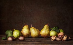 Картинка фрукты, орехи, груши
