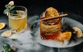 Картинка апельсин, алкоголь, корица, мята, койктейль