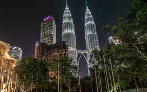 Картинка ночь, башни, Малайзия, Куала-Лумпур