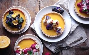 Картинка цветы, ягоды, малина, пирожные, ежевика, тарт