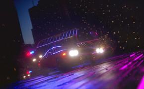 Картинка Авто, Ночь, Город, Машина, City, Погоня, Night, Рендеринг, Concept Art, Vehicles, Transport, Transport & Vehicles, ...