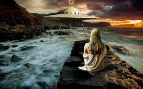 Картинка море, волны, девушка, закат, горы, тучи, природа, поза, камни, фантастика, скалы, берег, волосы, спина, корабль, …