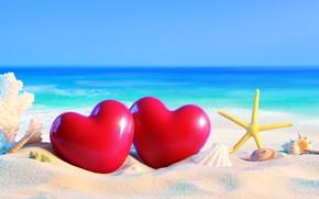 Картинка vacation, отдых, hearts, сердечки, beach, seashels, пляж, ракушки, sea, море, sand, песок, каникулы, summer, starfish, …