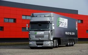 Картинка серый, здание, грузовик, стоянка, Renault, седельный тягач, 4x2, полуприцеп, Premium Route, Renault Trucks