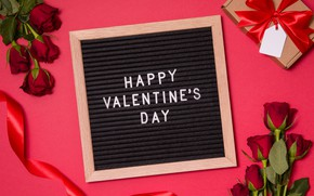 Картинка цветы, подарок, розы, букет, сердечки, красные, red, love, happy, flowers, romantic, hearts, valentine's day, roses, …