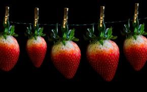 Картинка ягоды, клубника, черный фон, прищепки