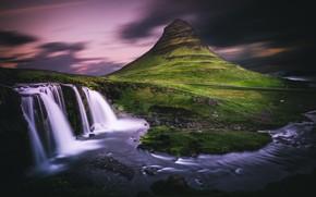 Картинка небо, облака, берег, гора, водопад, вечер, вулкан, водопады, сумерки, Исландия