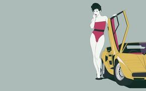 Картинка Девушка, Lamborghini, Ретро, Art, 80s, Countach, Lamborghini Countach, LP400, Transport & Vehicles, Mikhail Solovarov, by …