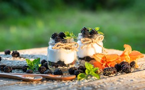 Картинка ягоды, ежевика, йогурт
