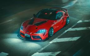 Картинка Красный, Авто, Ночь, Машина, Свет, Supra, Toyota Supra, Concept Art, Science Fiction, Khyzyl Saleem, by ...