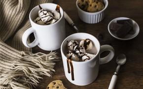 Картинка шоколад, печенье, мороженое, чашка, Chocolate, Ice cream