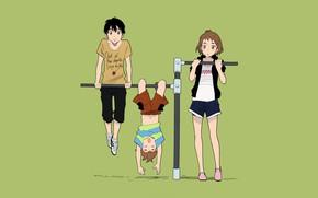 Картинка дети, турник, Kamisama ga Uso wo Tsuku
