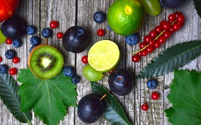 Картинка ягоды, киви, черника, смородина, wood, слива