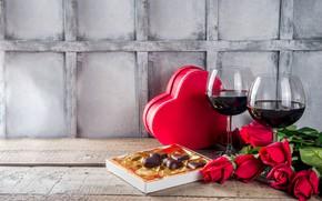 Картинка вино, красное, шоколад, бокалы, сердечко, День Святого валентина