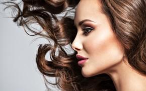 Картинка девушка, лицо, модель, прическа, профиль, локоны, Valua Vitaly