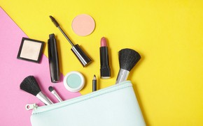 Картинка желтый, розовый, помада, тушь, карандаш, кисти, косметика, пудра