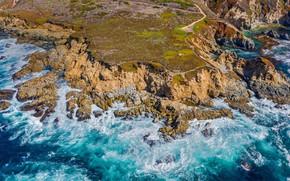Картинка море, побережье, Калифорния, США, Биг-Сур