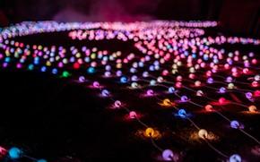 Картинка lights, colorful, wallpaper, holidays, glow, glare, bokeh, bulbs, blur effect, garlands, 4k uhd background