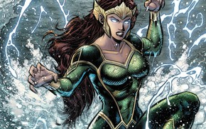 Картинка girl, fantasy, sea, crown, splashes, comics, redhead, artwork, suit, superhero, fantasy art, DC Comics, Aquaman, …