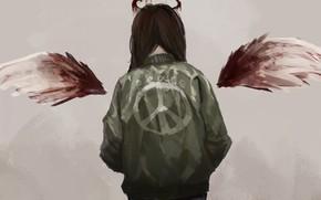 Картинка кровь, мир, ангел, девочка, пацифизм