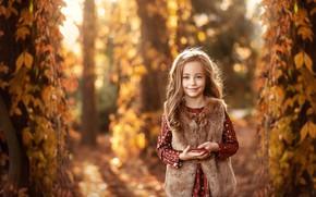 Картинка осень, улыбка, девочка