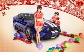 Картинка авто, взгляд, шарики, праздник, Ford, Девушки, красивые девушки