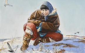 Картинка зима, птички, Andrei Alekseevich Yakovlev, женщина в платке, ARCTIC WONDER