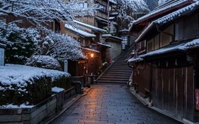 Картинка Дома, Зима, Дорога, Город, Япония, Снег, Лестница, Улица, Киото