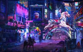Картинка город, фантастика, улица, лошадь, реклама, вывески, киберпанк