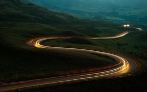 Картинка дорога, серпантин, night