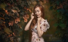 Картинка листья, девушка, природа, платье, рыжая, Adam Wawrzyniak