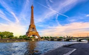 Картинка эйфелева башня, Париж, Мост