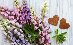 Картинка цветы, букет, сердечки, люпин
