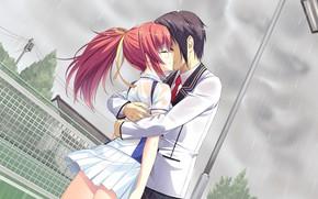 Картинка девушка, дождь, игра, поцелуй, аниме, арт, парень, Mote Sugite Shuraba na Ore