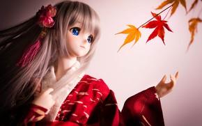 Картинка кукла, кимоно, клен