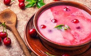 Картинка вишня, еда, тарелка, вишневый, ложка, суп, чашка, десерт, черешня, ягодный