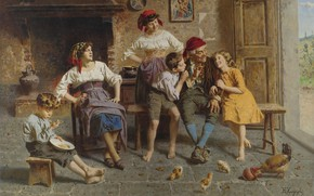 Картинка итальянский художник, Italian painter, oil on canvas, Visiting grandfather, В гостях у дедушки, Eugenio Zampighi, …