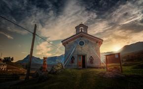 Картинка горы, обработка, храм, mountain chapel