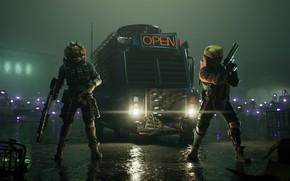 Картинка ночь, солдаты, двое, Fortnite