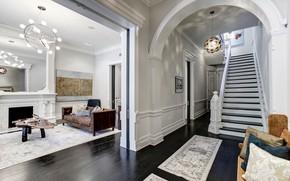 Картинка интерьер, коридор, лестница, гостиная, Vermont