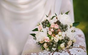 Картинка цветы, розы, букет, ткань, розовые, белые, светлый фон, разные, пионы, композиция
