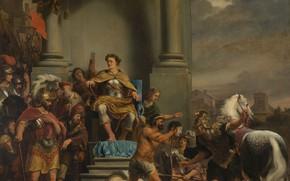 Картинка масло, картина, холст, история, Фердинанд Бол, Ferdinand Bol, Консул Тит Манлий обезглавливает своего сына Торкв, …