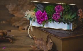 Картинка цветы, стол, коробка, букет