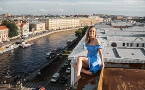 Картинка девушка, город, высота, смех, на крыше, Максим Иванов, не страшно?
