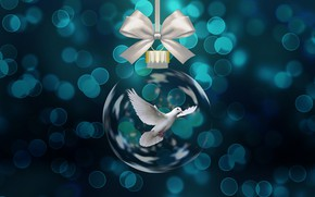Картинка полет, голубь, лента, Christmas, бантик, blue, fly, боке, bokeh