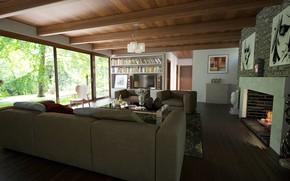 Картинка дизайн, интерьер, камин, библиотека, гостиная